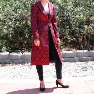 Bebe Red Metallic Patterned A-line Long Coat